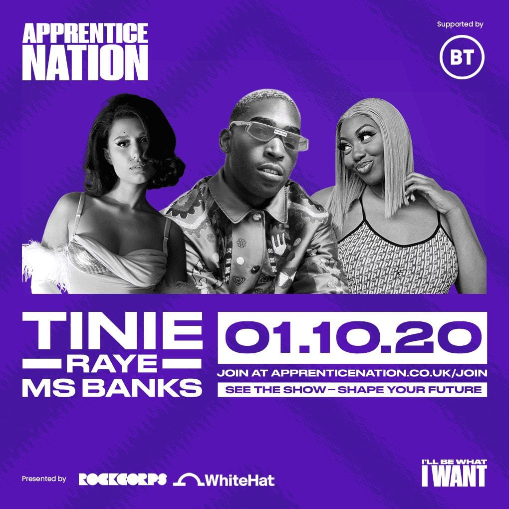 Watch Tinie, Raye & Ms Banks live with Apprentice Nation's upcoming livestream
